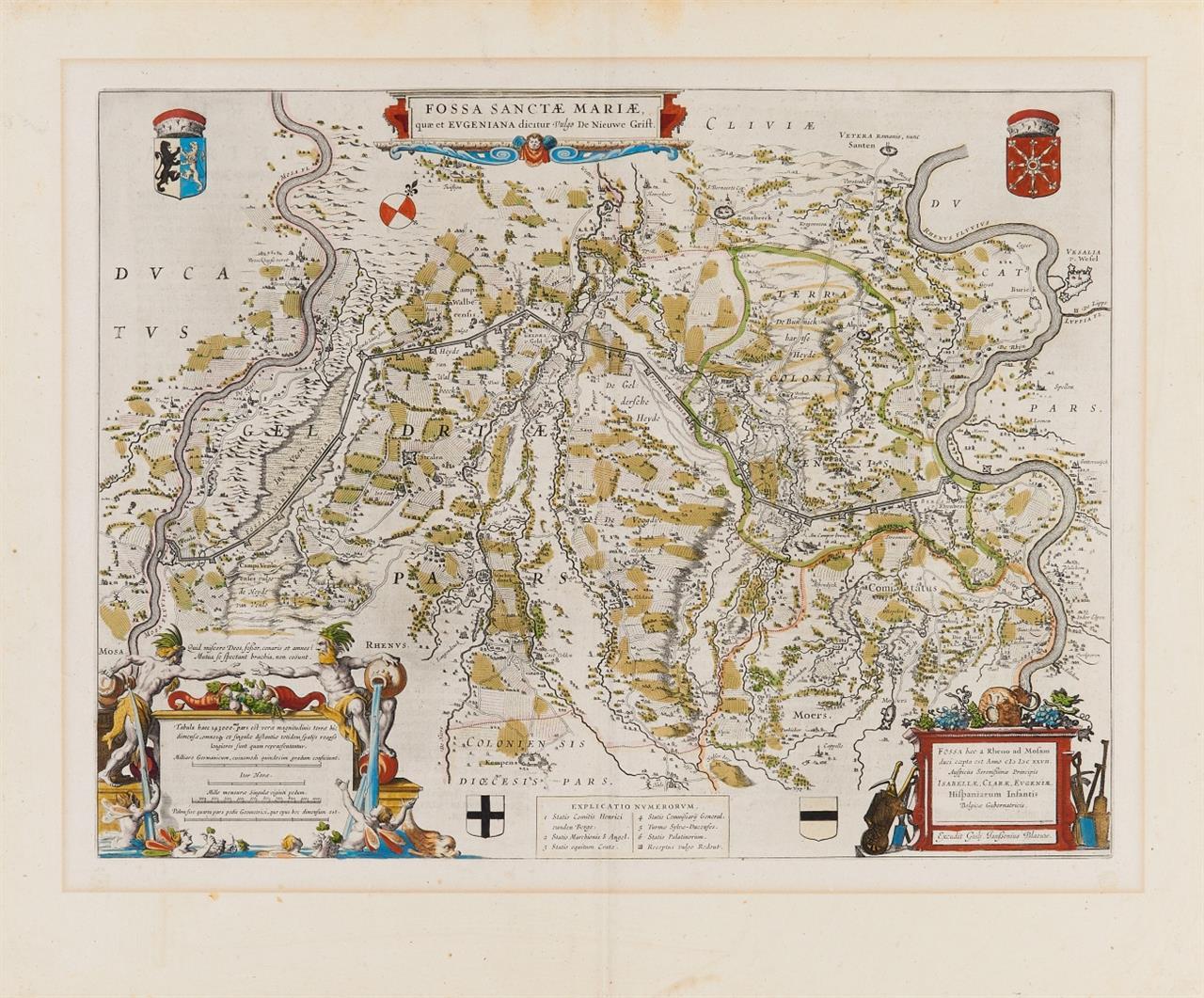 2 Kupferstichkarten. (Fossa  .. Eugeniana. Janssonius-Blaeu / Herzogthum Cleve... Homann Erben 1777).