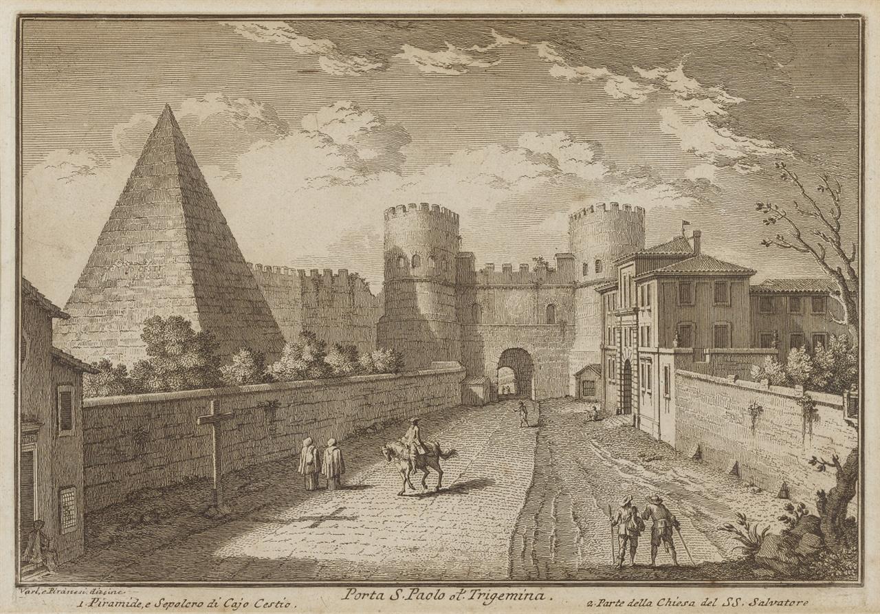Giuseppe Vasi, nach. Rom. Porta S. Paolo et Trigemina (Cestius-Pyramide). Um 1750/60. Radierung.