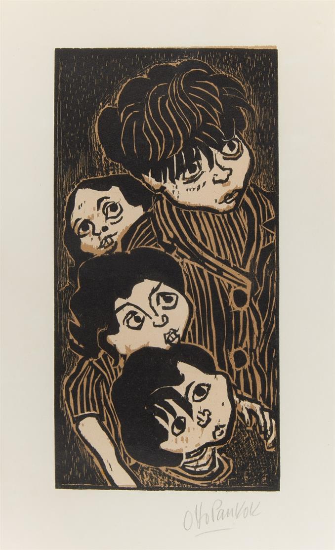 Otto Pankok. Lauschende Kinder. 1947. Farbholzschnitt. Signiert. Griffelkunst.