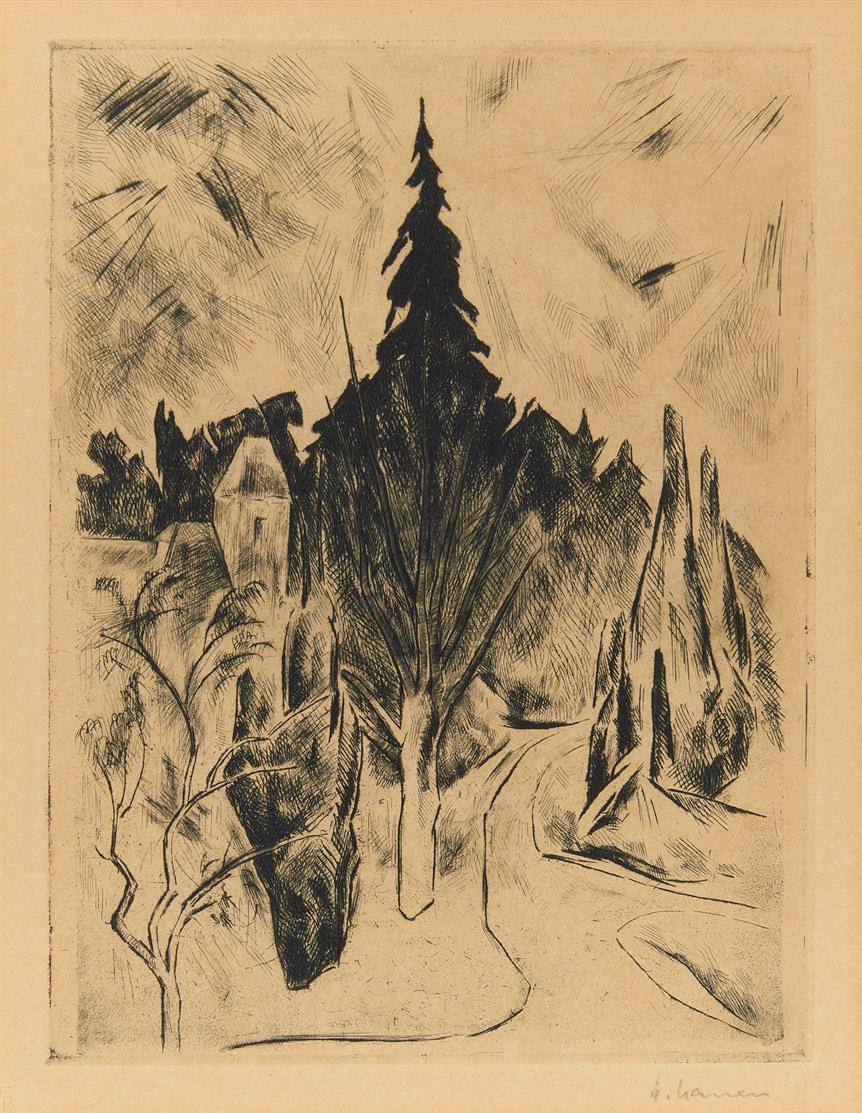 Heinrich Nauen. Park am Morgen. 1919. Radierung mit Kaltnadel. Signiert.
