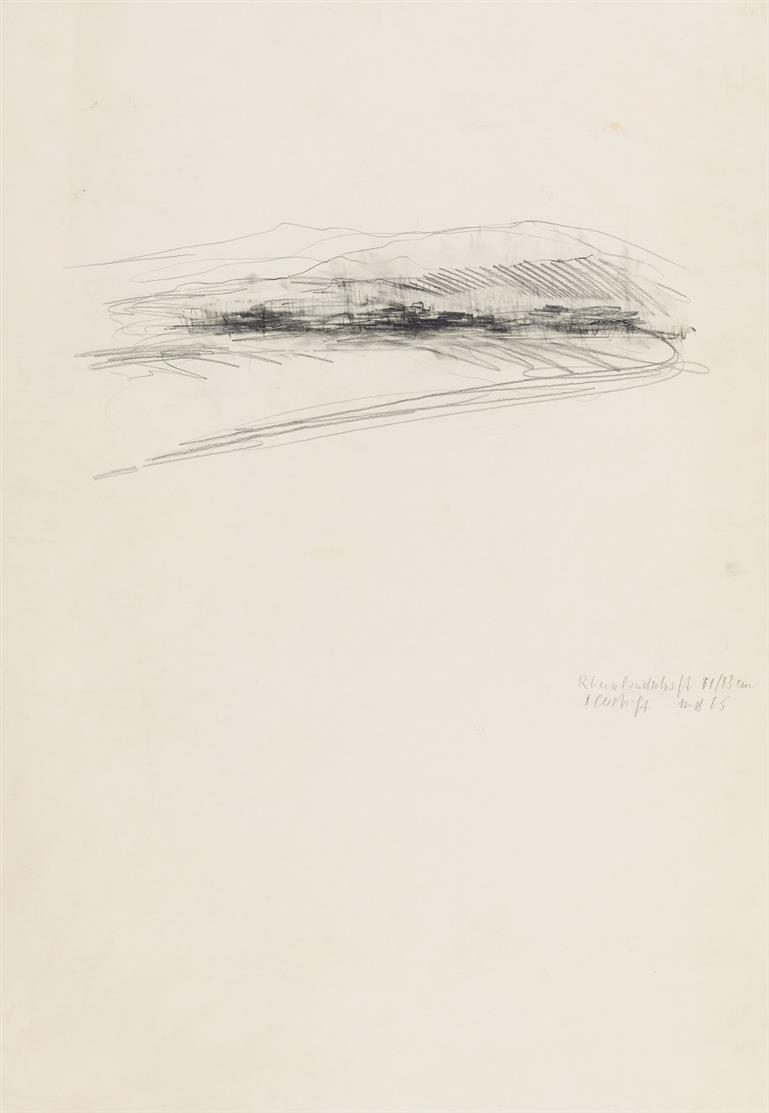 Michael von Biel. Rheinlandschaft 51/72 cm. 1965. Bleistift auf Karton. Monogrammiert.