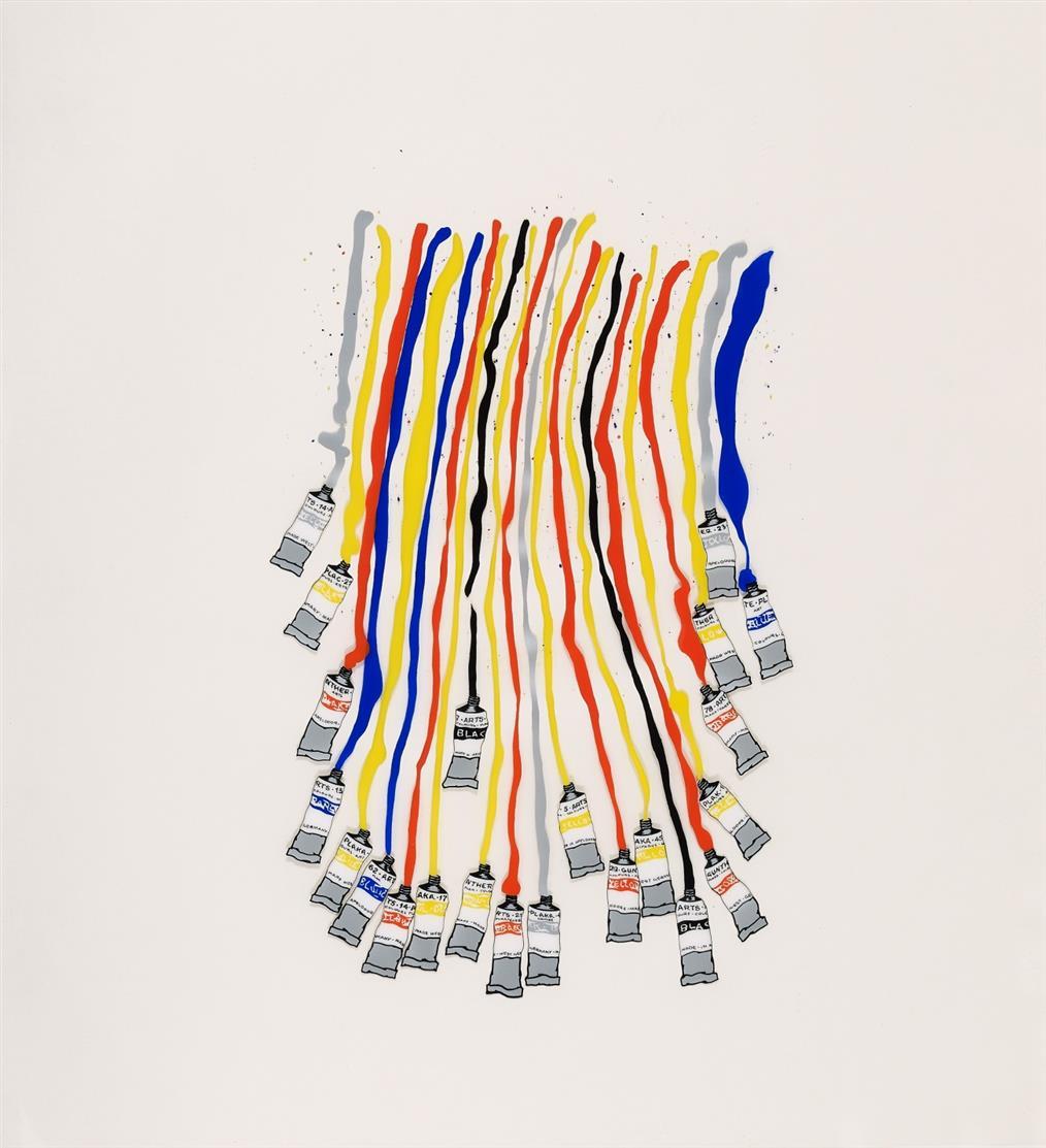 Fernandez Arman. Ohne Titel. Farbserigraphie auf Klarsichtkunststofffolie. Signiert. Ex. 52/150.
