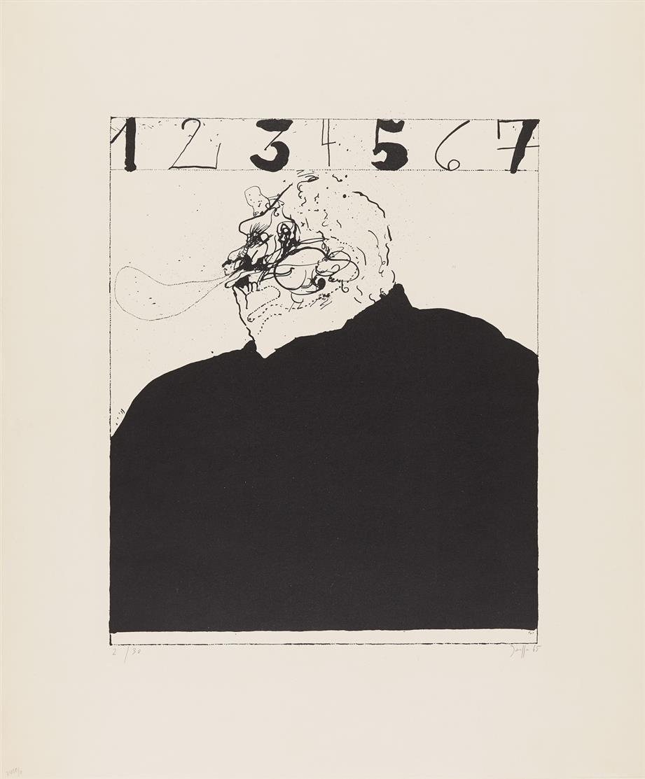 Horst Janssen. Selbst 1-2-3-4-5-6-7. 1965. Lithographie. Signiert. Ex. 2/30.