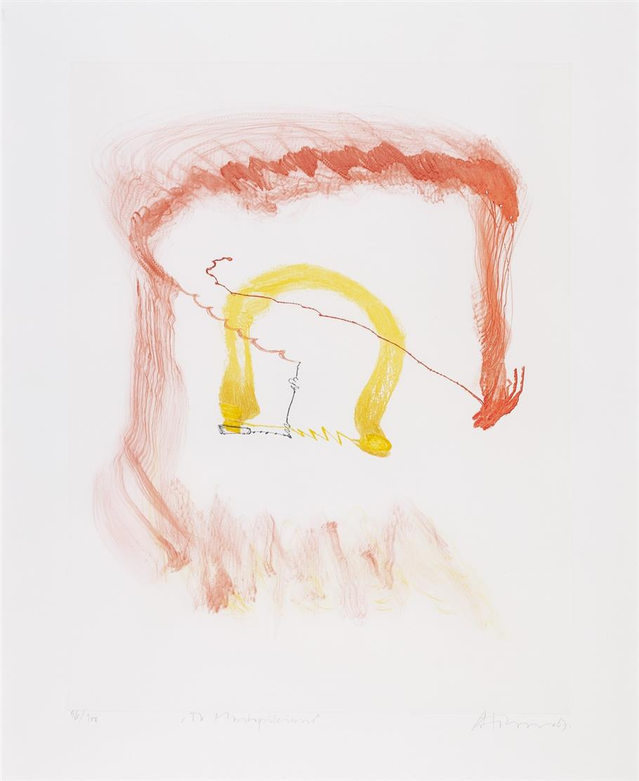 Gerhard Hoehme. Montepulciano. 1987. Farbradierung. Signiert. Ex. 86/100.
