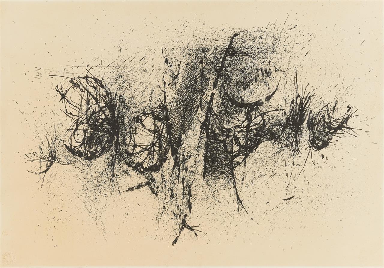 Ferdinand Spindel. Ohne Titel. 1958. Tusche. Signiert.