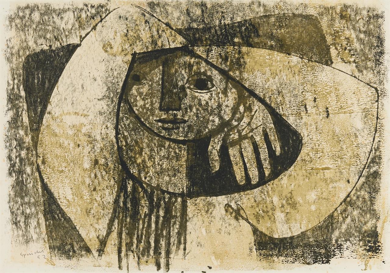 Ferdinand Spindel. Ohne Titel (Gesicht).1952. Wachskreide, Tusche und Aquarell auf Velin. Signiert.