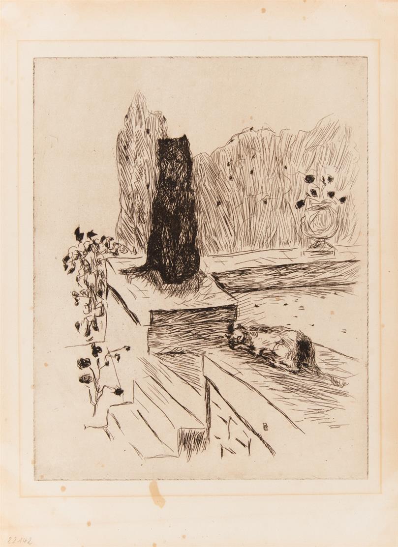 Pierre Bonnard. Hund und Katze, aus: Dingo. 1924/ 2 Blatt (Katze/Paar) aus: La vie de sainte Monique. 1930. 3 Bll. Radierungen bzw. Lithographie.