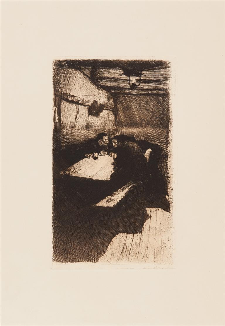 Käthe Kollwitz. Beratung (aus: Weberaufstand). 1893/97. Radierung. V.d.K. 28. / dazu: Mutter mit Jungen. 1933. Lichtdruck. V.D.K. 258 Reprodr. 3.