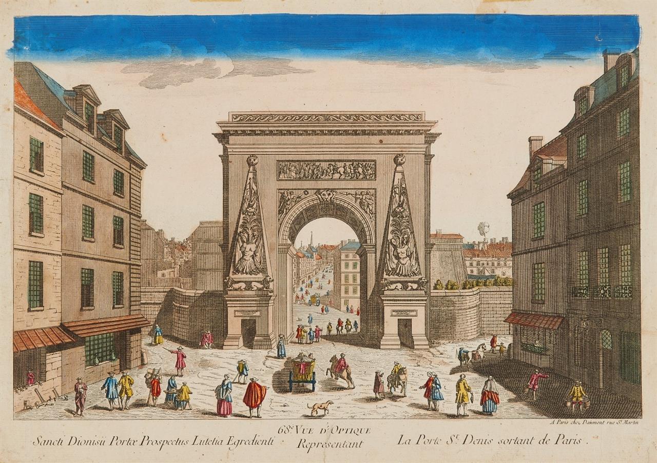 Paris. Guckkastenbilder. Um 1780. 4 kolorierte Radierungen.