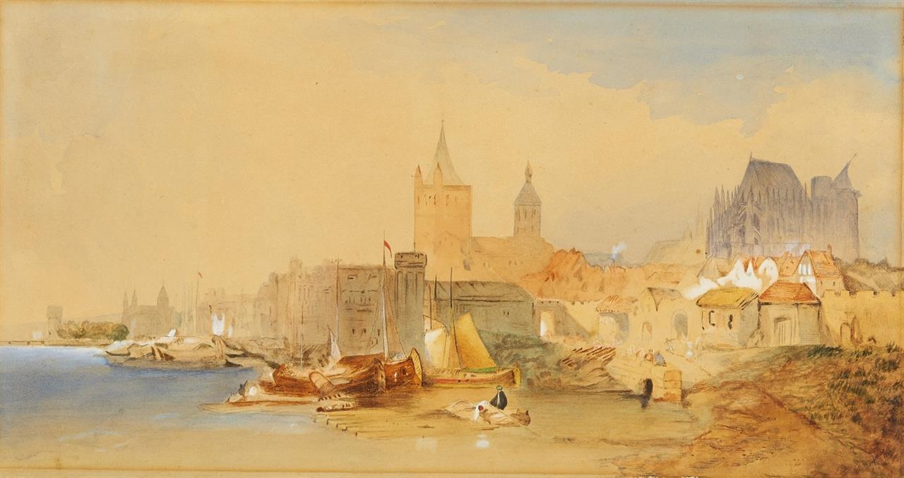 Köln. Uferansicht von Norden.1866. Aquarell.
