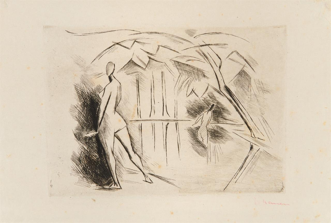 Heinrich Nauen. Badende. 1915. Kaltnadelradierung. Signiert.