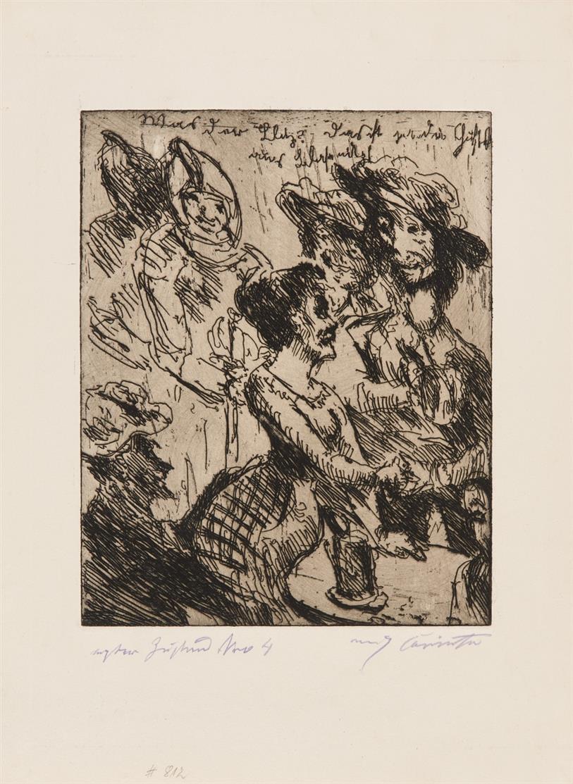 Lovis Corinth. Was der Blitz! ... (Aus: Wallensteins Lager). 1923. Radierung. Signiert. 1. Zustand von 4. Müller 812.