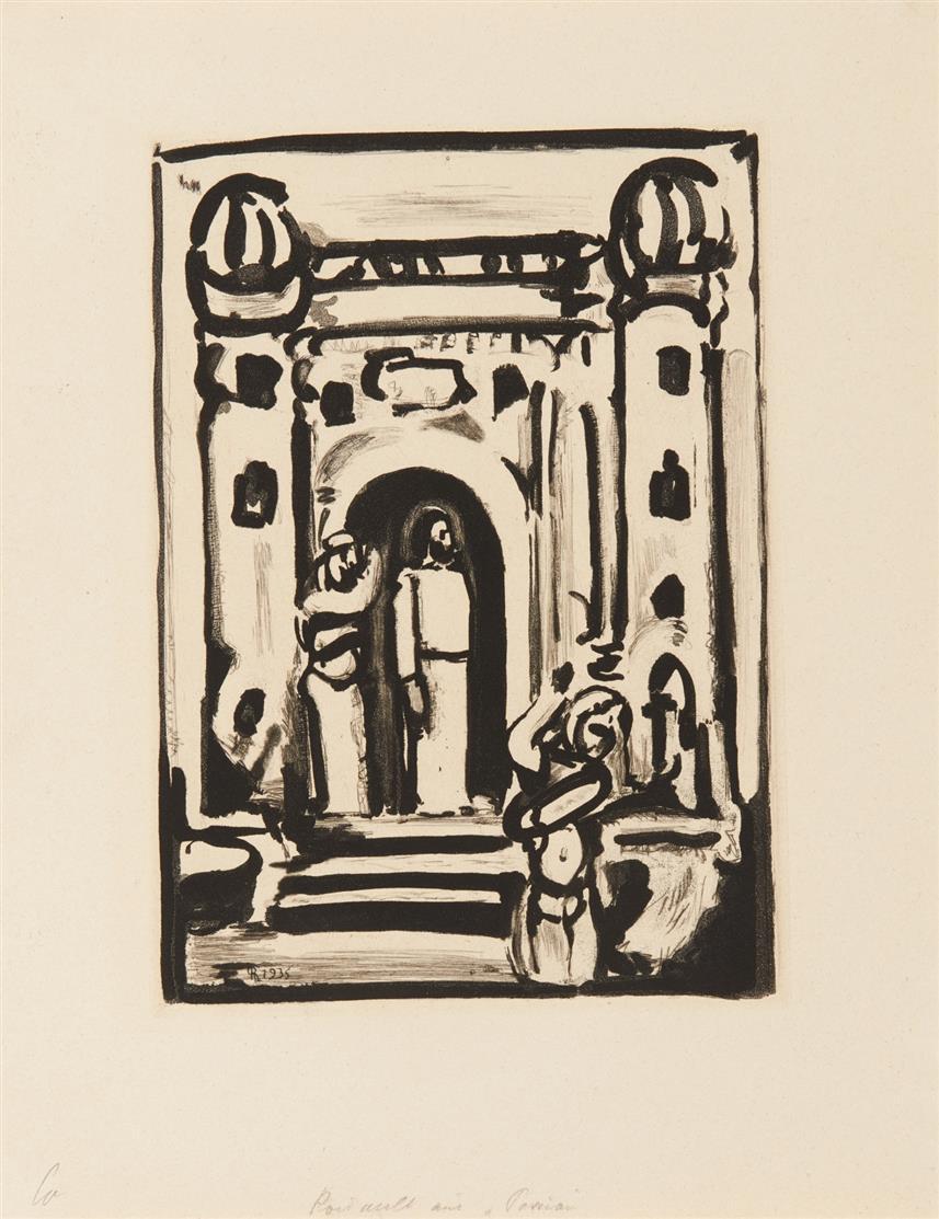 Georges Rouault. Christ aux portes de la ville (Aus: Passion). 1939. Aquatinta au sucre. Chapon 257 a.