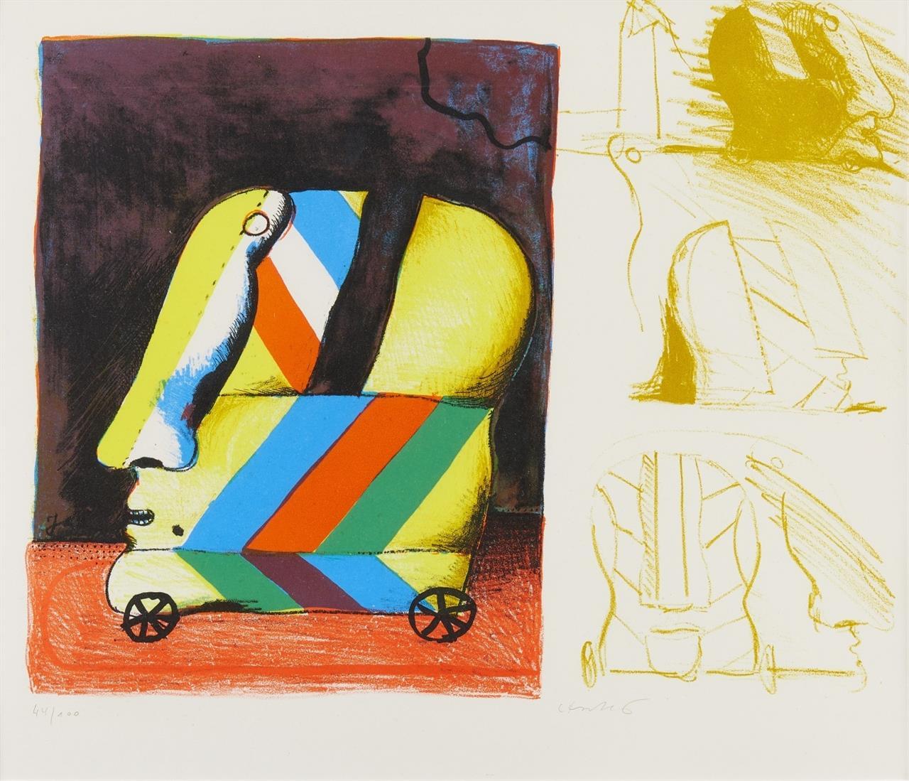 Horst Antes. Zu: Symbiosion. 1965/67. 2 Blatt Farblithographien. Je signiert. Je Ex. 44/100. Lutze 541 (6) bzw. 541 (2).