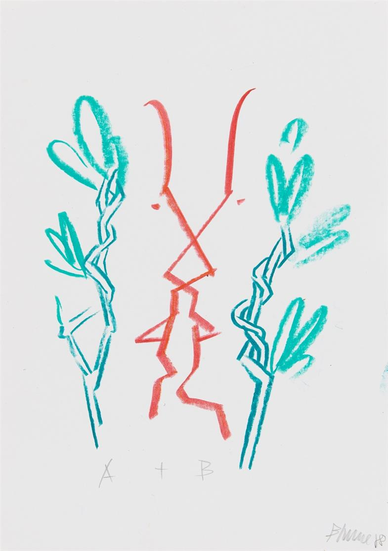 Bernhard Johannes Blume. A+B. 1988. Farbkreide. Signiert.