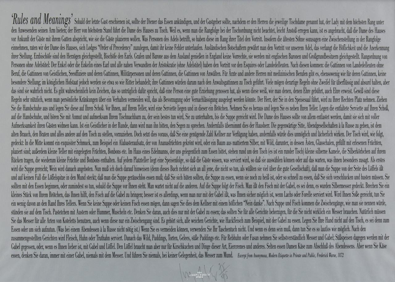 Joseph Kosuth. Rules and meanings. 1999. Siebdruck. Signiert. Ex. 75/75.