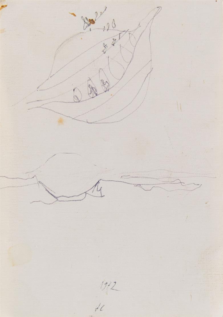 Norbert Kricke. Ohne Titel. 1972. Kugelschreiber. Monogrammiert.