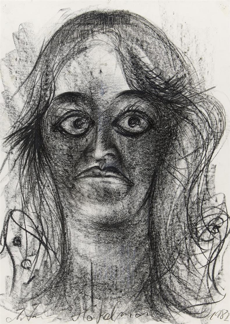 Antonius Höckelmann. Ohne Titel. 1982. Kreidezeichnung. Signiert. 69 x 49,5 cm.