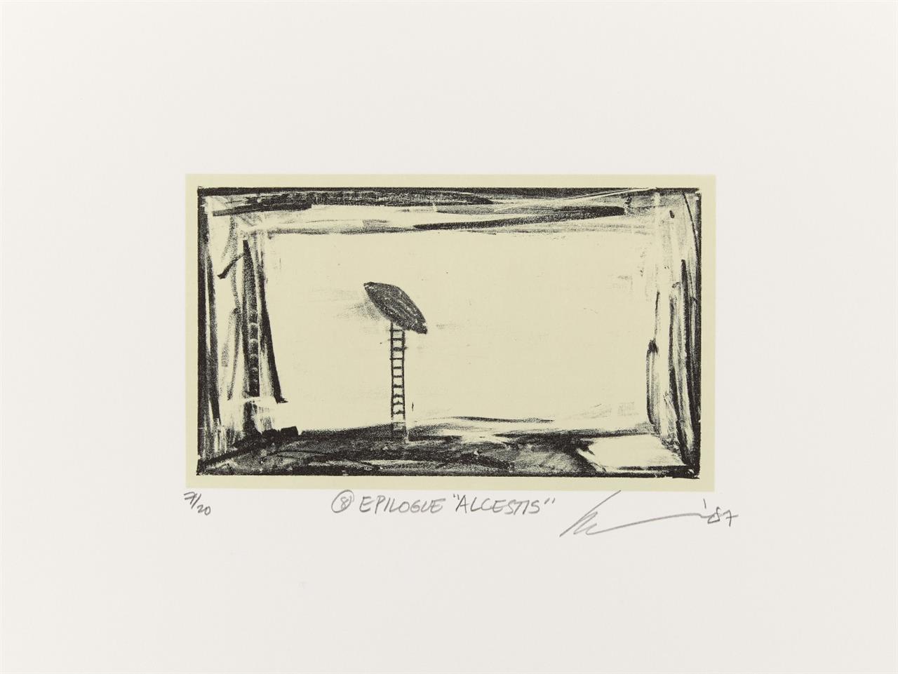 Robert Wilson. Alcestis. 1987. Mappe mit 9 Lithographien. Signiert. Ex. 7/20.