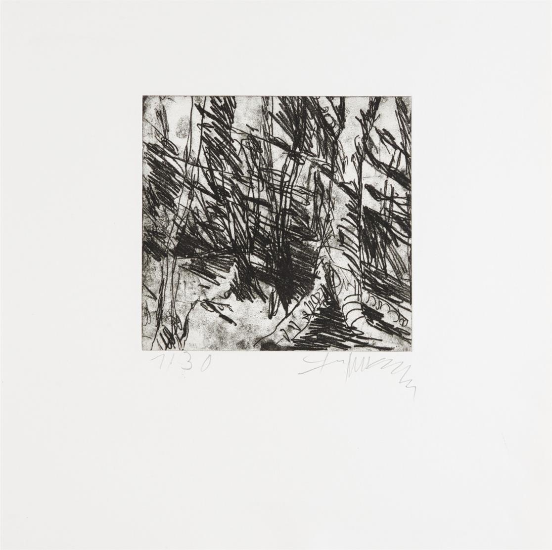 Klaus Fußmann. Waldstimme. 1982. Mappenwerk mit 5 Blatt Radierungen. Signiert. Ex. 1/30.