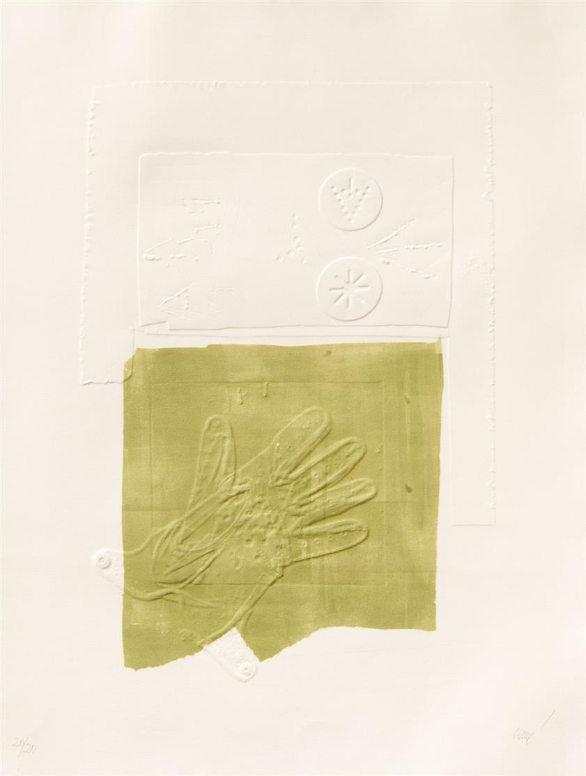 Antoni Clavé. Avec un gant III. 1972. Farbradierung und Prägung. Signiert. Ex. 20/20.