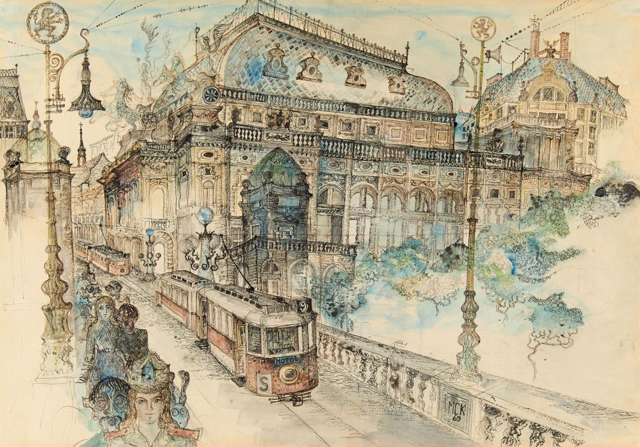 Michael Coudehove-Kalergi. Nationaltheater zu Prag. 1969. Aquarell und Tusche. Monogrammiert.