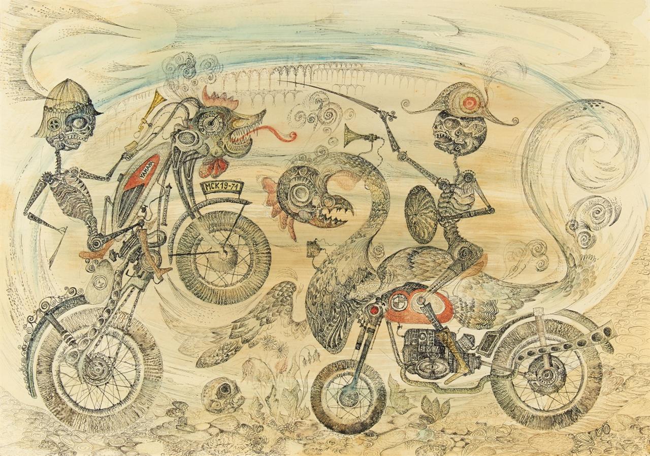 Michael Coudehove-Kalergi. Ohne Titel (Motorräder). 1971. Aquarell und Tusche. Monogrammiert.