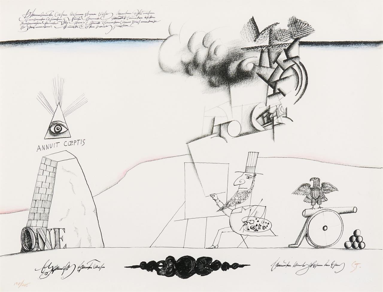 Saül Steinberg. Sam's Art (aus: New York International). 1966. Farblithographie. Monogrammiert. Ex. 198/225.