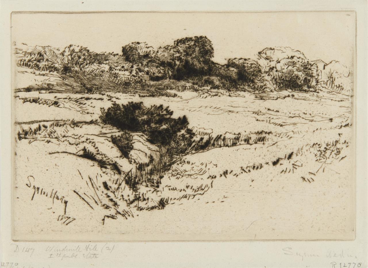 Francis Seymour-Haden. Windmill Hill II. 1877.  Kaltnadelradierung. Signiert.