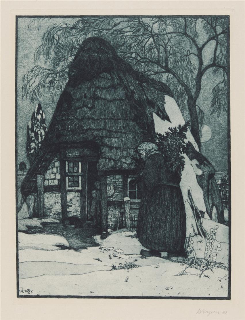 Heinrich Vogeler. Weihnachten. 1912. Radierung. Signiert. Rief 48.