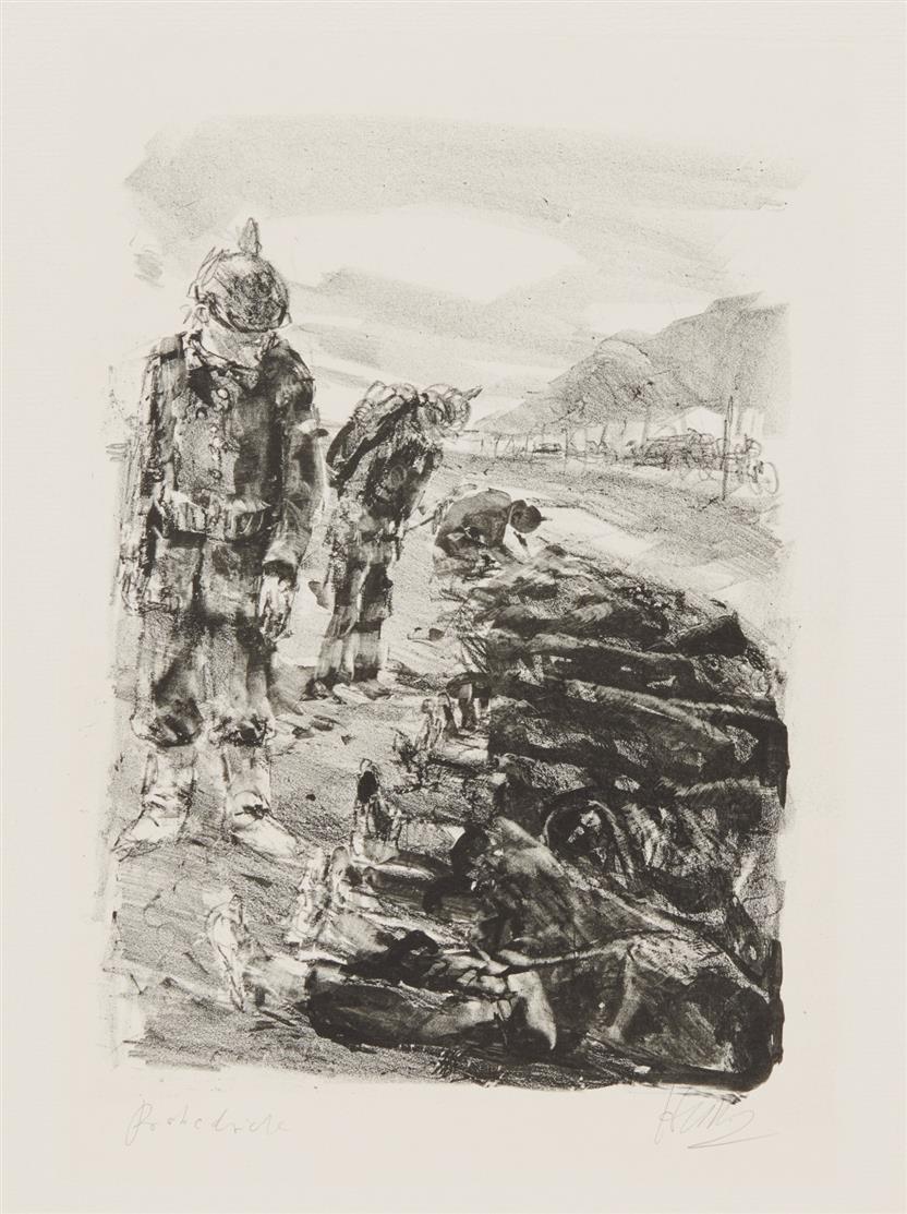 Bernhard Heisig. Drei Soldaten vor liegenden Toten. 1979. Lithographie. Probedruck. Signiert.