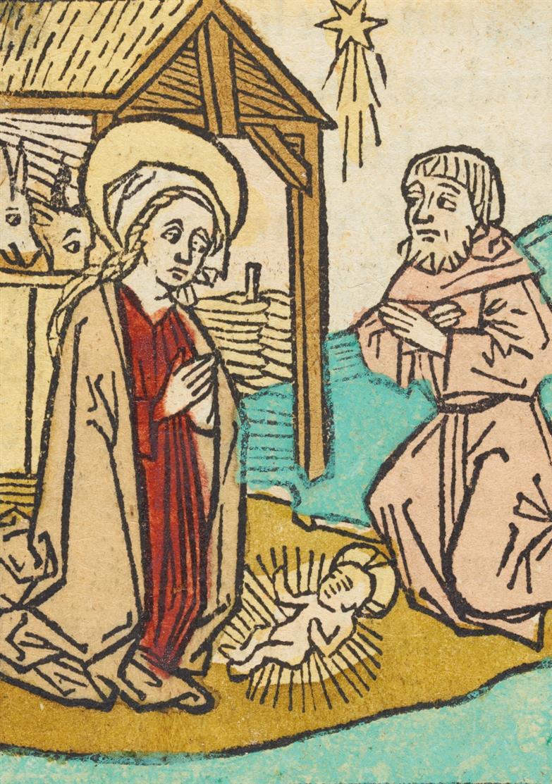 Geburt Christi, Kolorierter Holzschnitt aus J. Schönsperger u. Th. Rüber