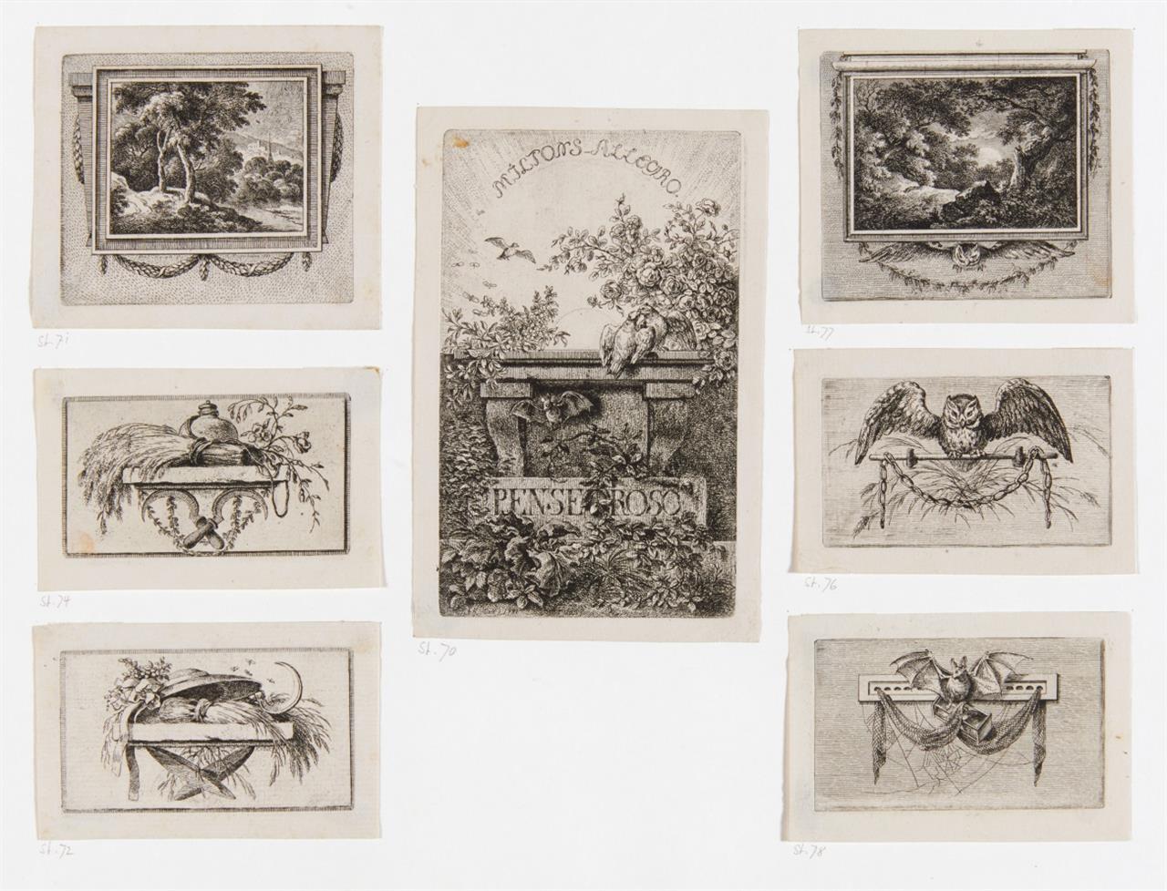 Ferdinand von Kobell. Allegro et Penseroso.  um 1782. 7 Blatt (von 9) Radierungen.