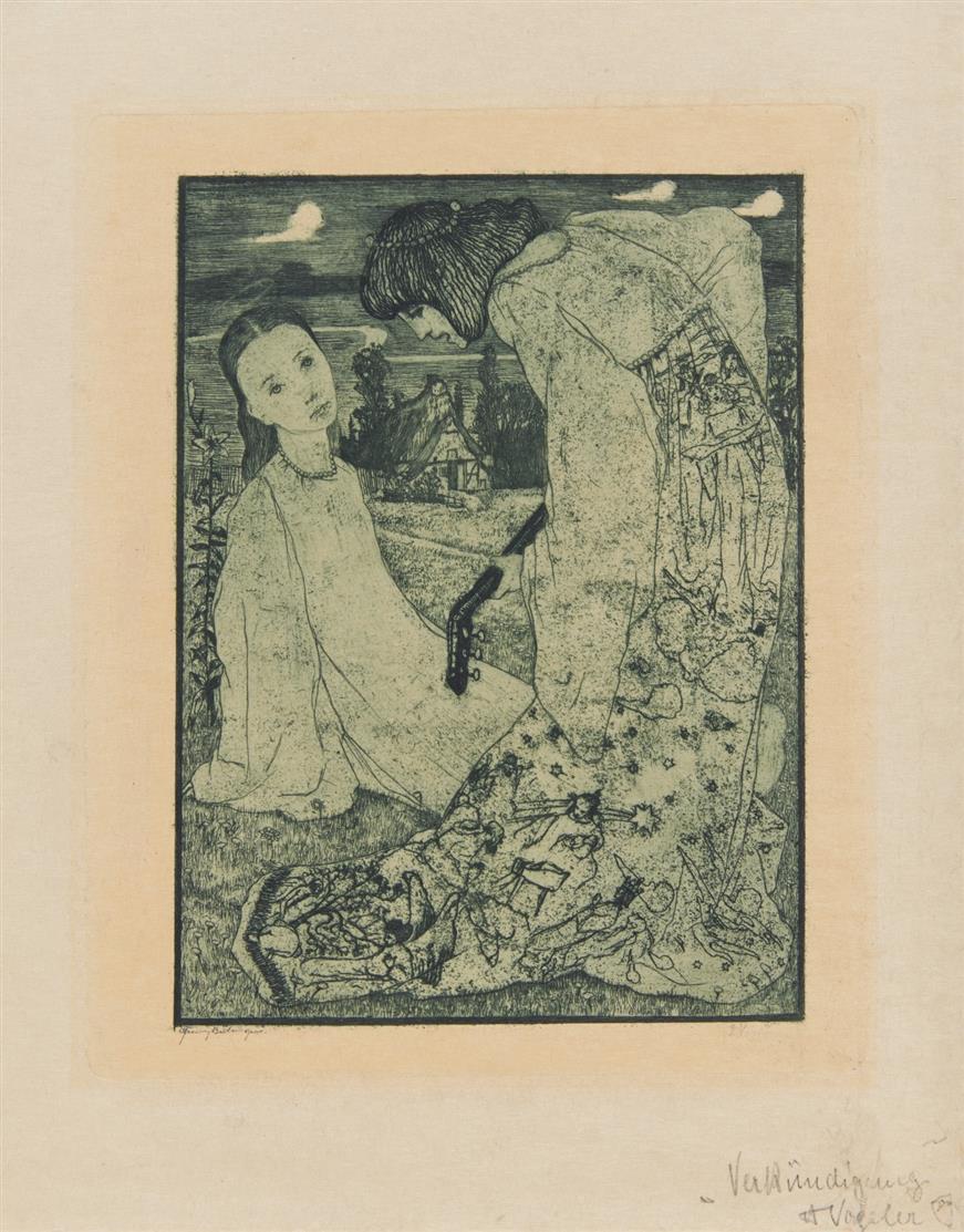 Heinrich Vogeler. Verkündigung. 1895. Radierung. Rief 10.