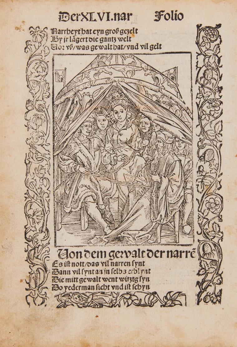 Albrecht Dürer. Die Herrschaft der Narrheit. Kleines Buchblatt aus 5. Dt. Ausgabe. Basel. 1494 (1509).