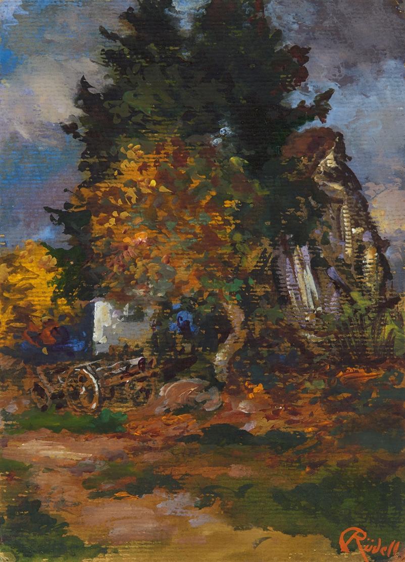 Carl Rüdell. Bauernhaus / Maria im Capitol. 2 Blatt.  Gouache bzw. Aquarell. Signiert bzw. verso bezeichnet.
