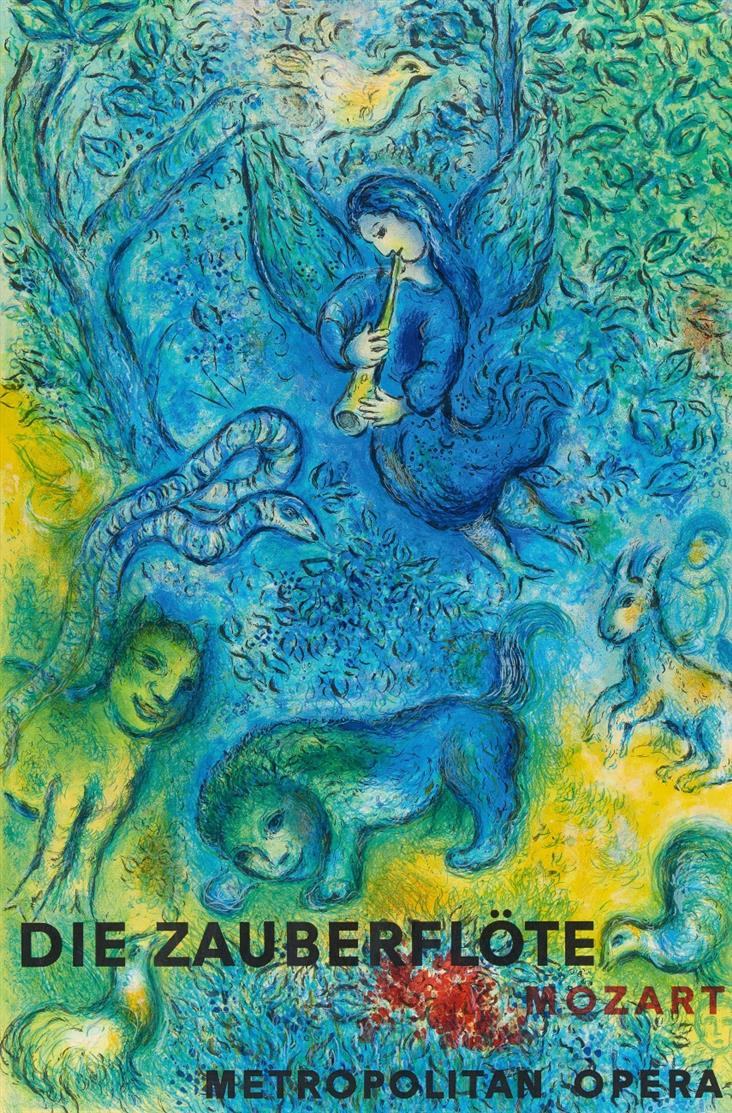Marc Chagall. Mozart Die Zauberflöte, Metropolitan Opera.1967. Plakat. Farblithographie.