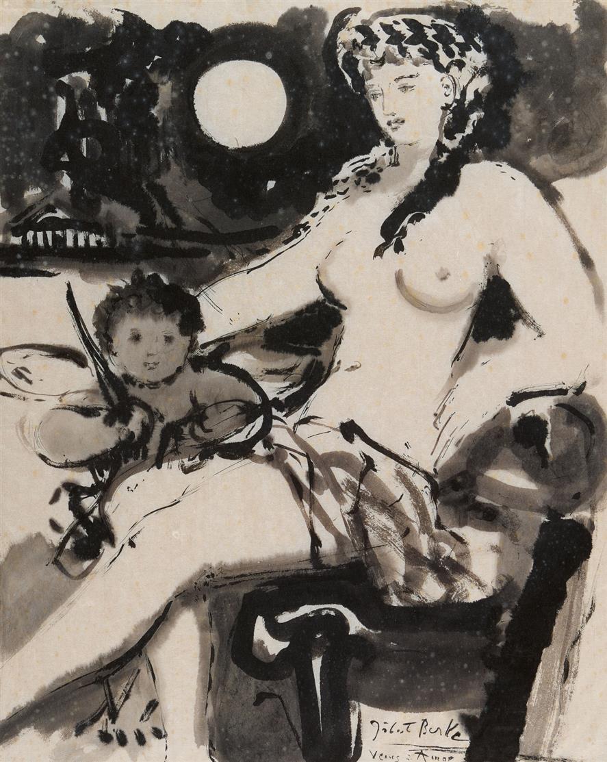 Hubert Berke. Venus und Amor. Tusche auf dünnem Japanbütten. Signiert.