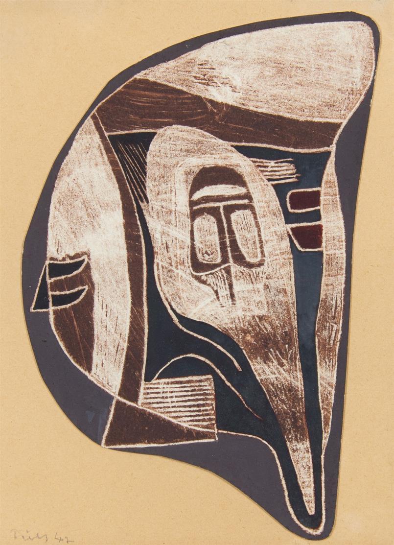 Gerhard Fietz. Ohne Titel. 1947. Ölfarben auf Papier. Signiert.