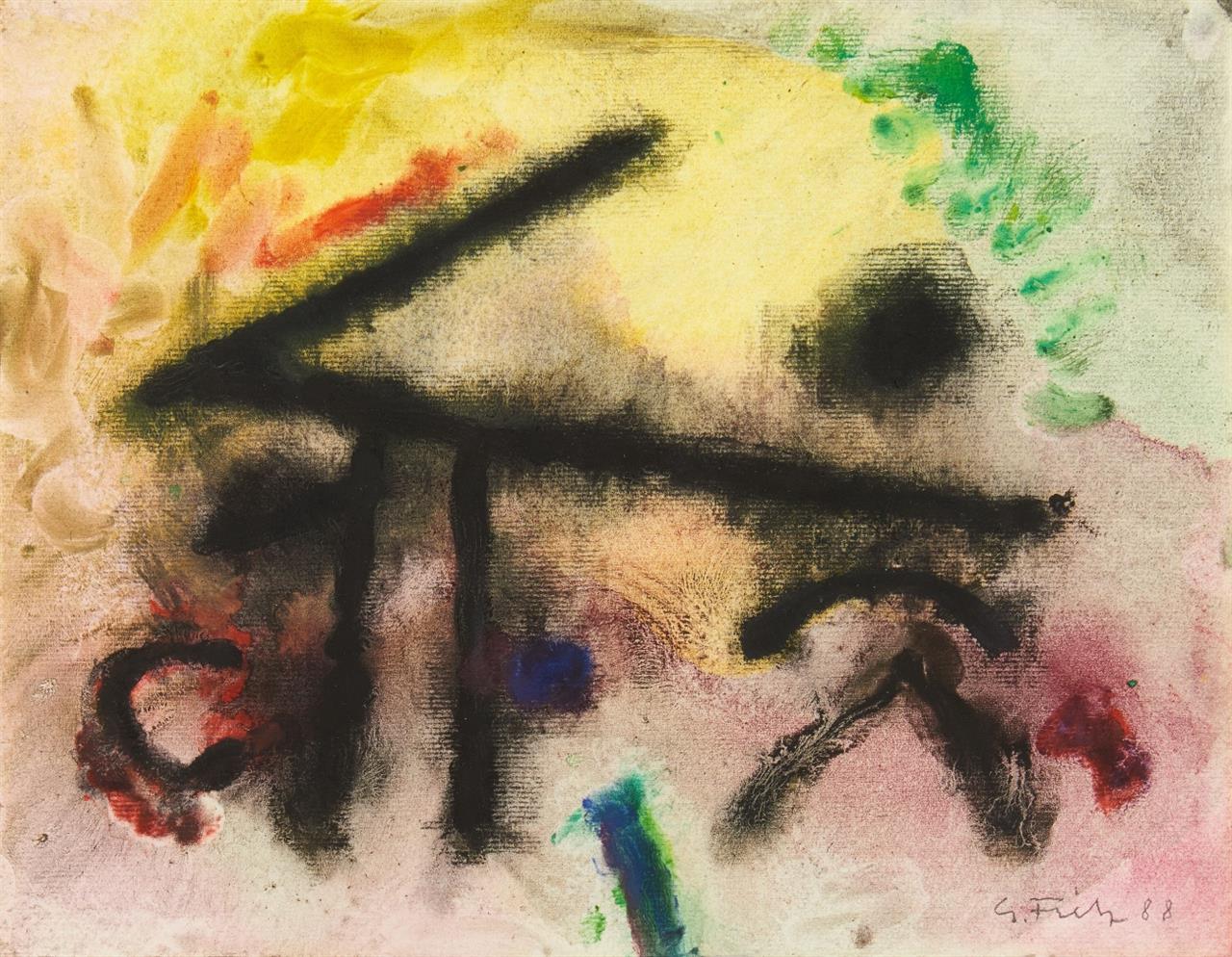 Gerhard Fietz. Ohne Titel. 1988. Ölfarben und Aquarell auf Japanbütten. Signiert.