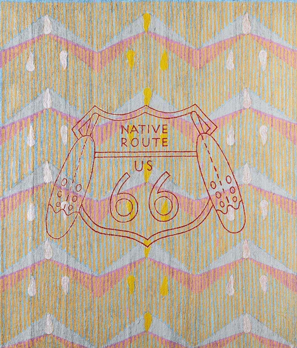 Dieterich Spahn. Native Route US 66. 2016. Öl auf Stahlwolle, auf Leinwand. Signiert. 107 x 91,5 cm.