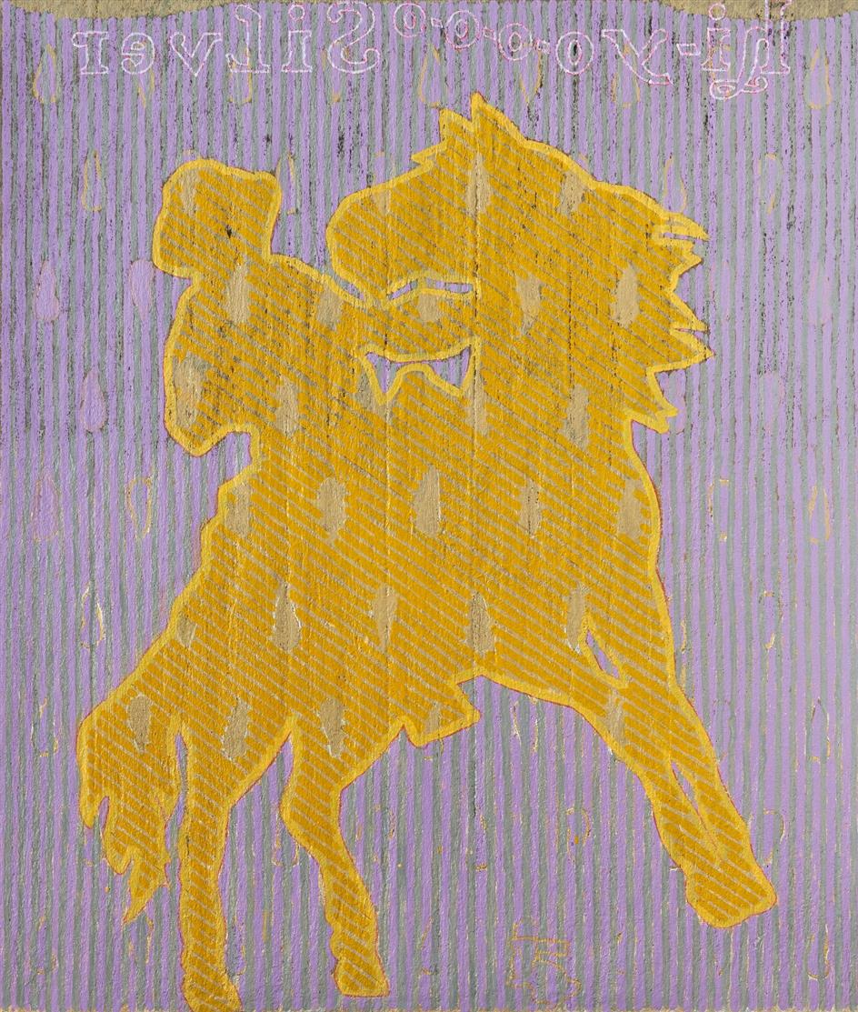 Dieterich Spahn. Hi-Yoooo Silver Lone Ranger. 2017. Öl auf Stahlwolle, auf Leinwand. Signiert. 107 x 91,5 cm.