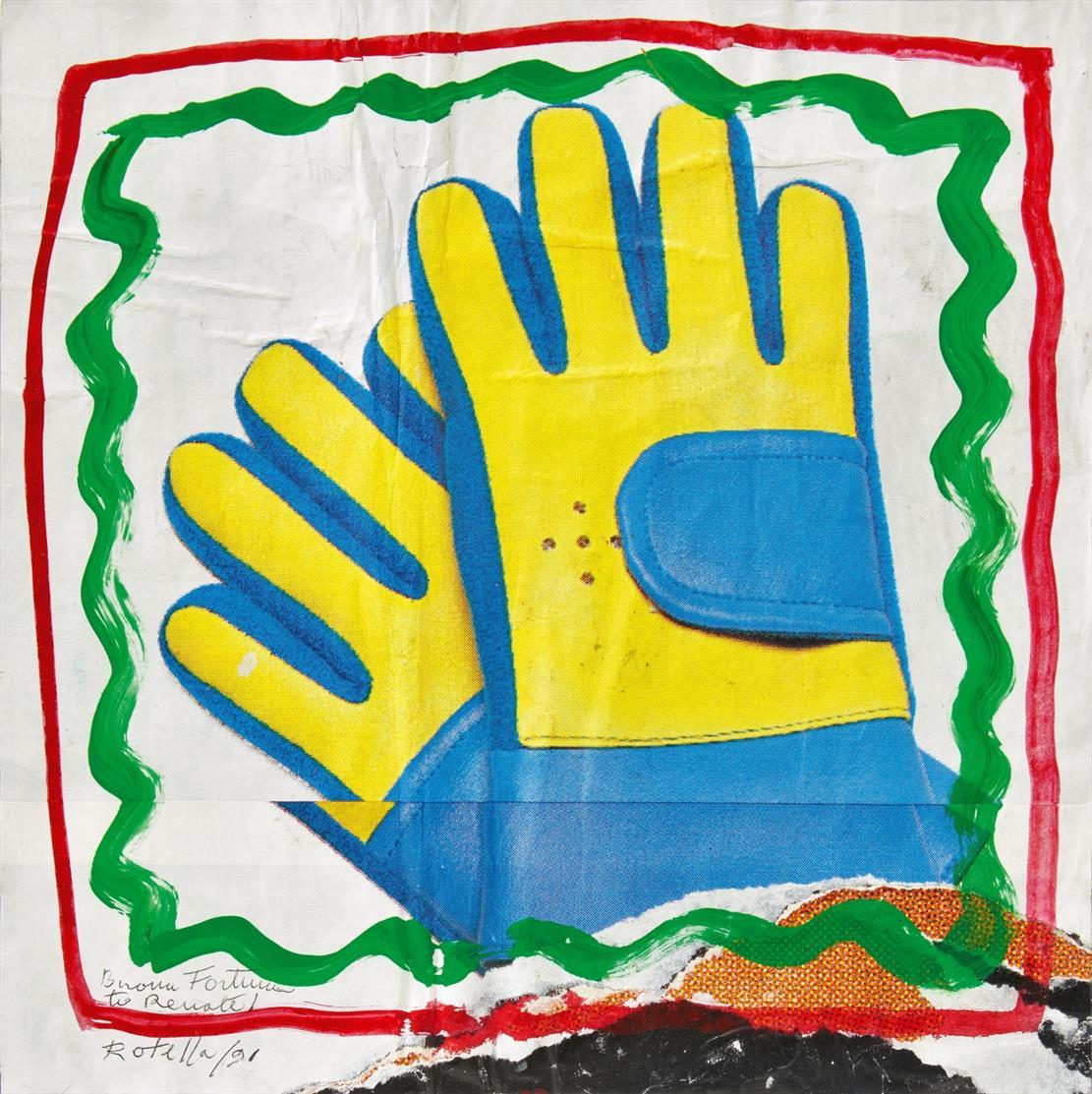 Mimmo Rotella. Ohne Titel (2 hands). 1991. Collage mit Gouache. Signiert.