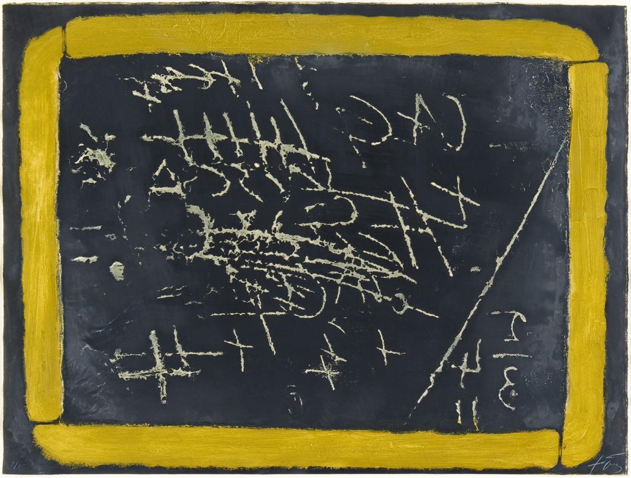Antoni Tàpies. Pissarra. 1972. Radierung und Carborundum auf Guarro. Signiert. Ex.3/75. G. 287.