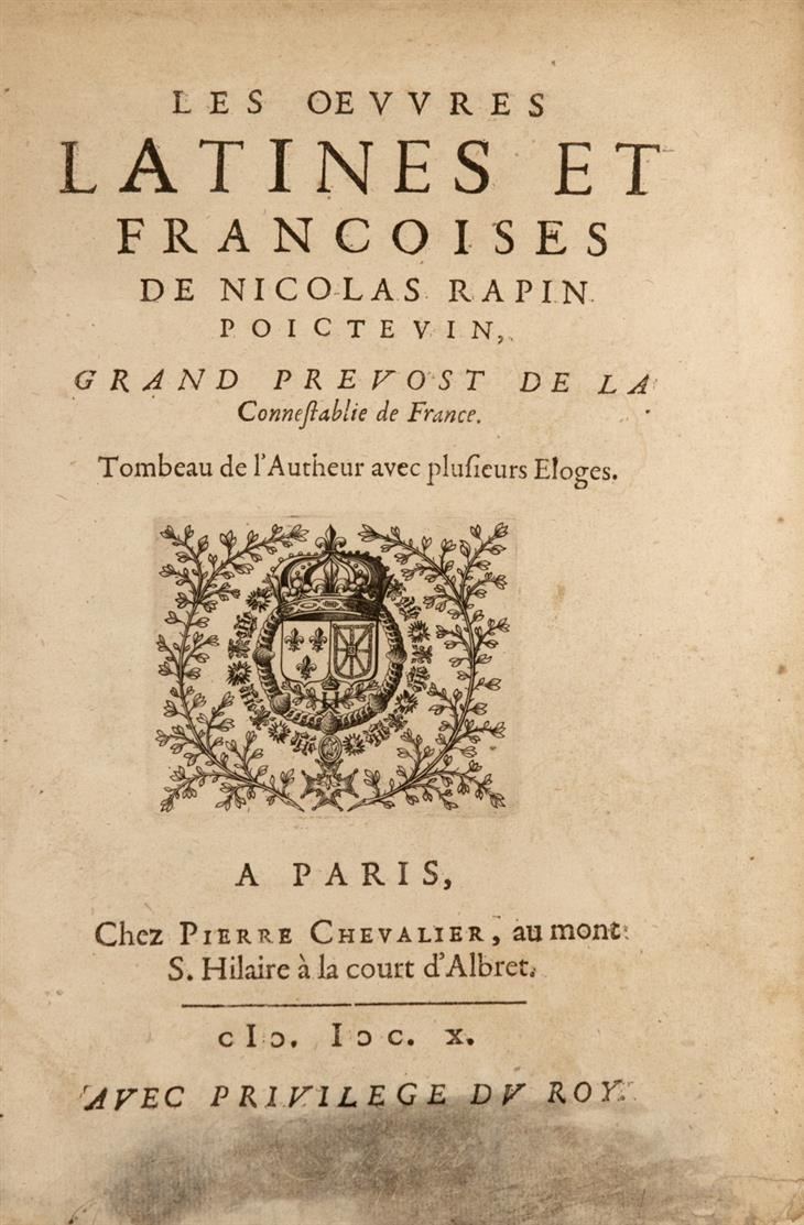 N. Rapin, Les Oeuvres latines et françoises. Paris 1610.