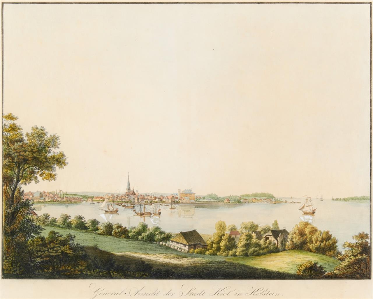 Kiel. General Ansicht der Stadt Kiel in Holstein. Kolorierte Umrissradierung von Schmidt nach Hansen. um 1830.