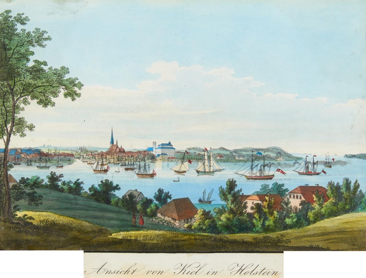 Kiel. Ansicht von Kiel in Holstein. Um 1830. Kolorierte Lithographie nach Hansen.