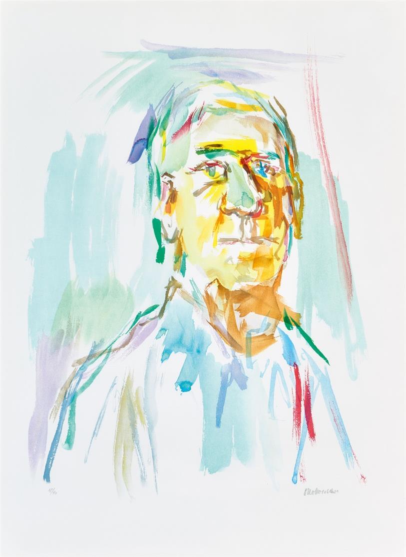 Oskar Kokoschka. Selbstporträt. 1968. Farblithographie. Signiert. Ex. 18/40. WW 523.