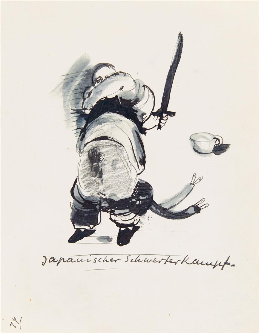 Robert Pudlich. Japanischer Schwertkampf. Ca. 1929, Aquarell u. Tusche.