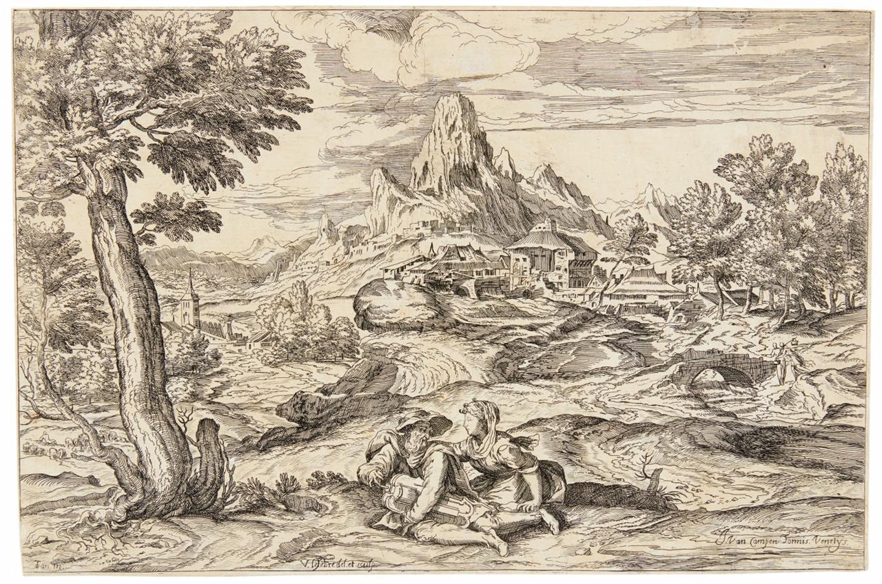 Valentin Lefebvre nach Tizian. Landschaft mit Drehleiermann. Kupferstich, bei J. van Campen.